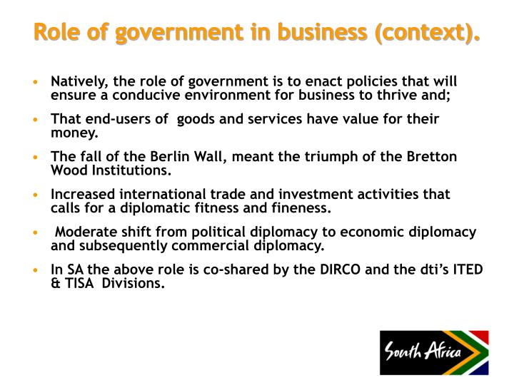 Role of government in business context