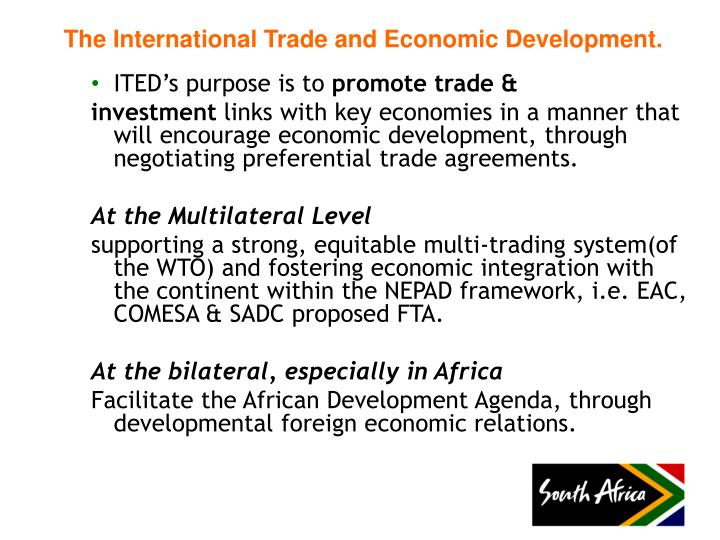 The international trade and economic development