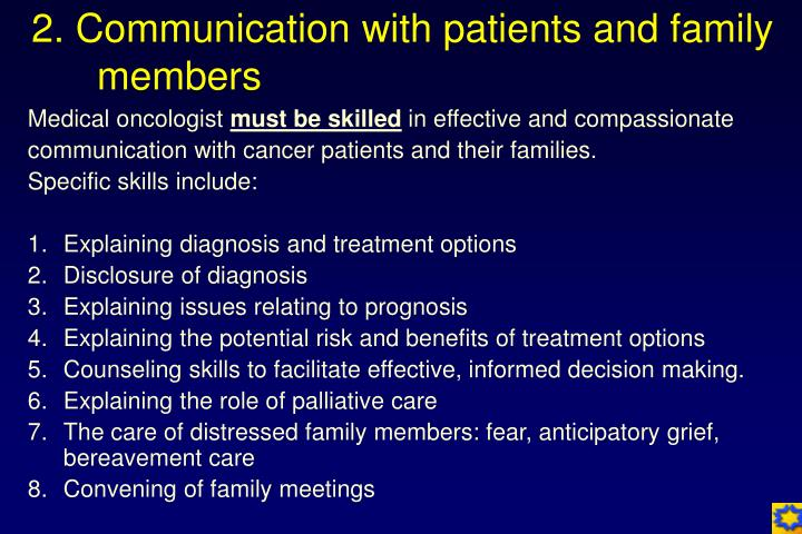 2. Communication with patients and family members