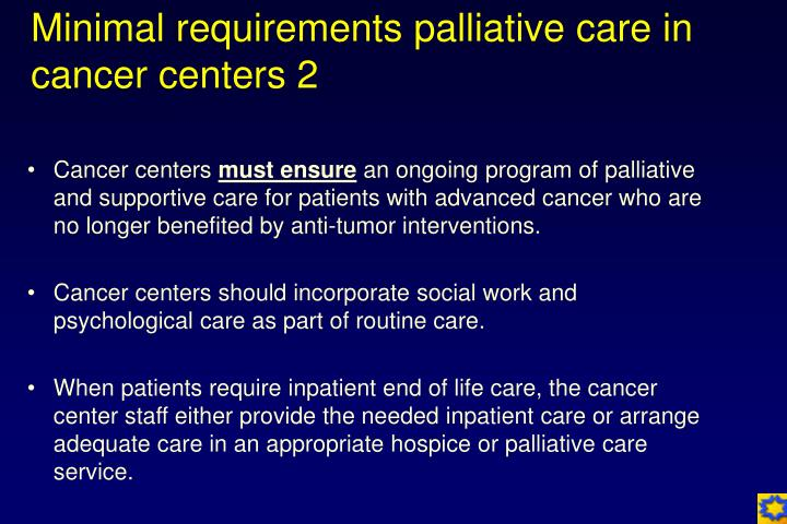 Minimal requirements palliative care in cancer centers 2