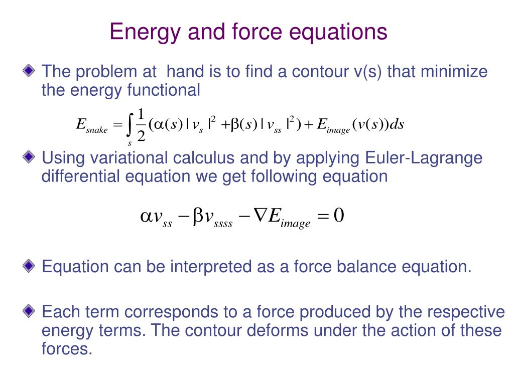 Energy and force equations