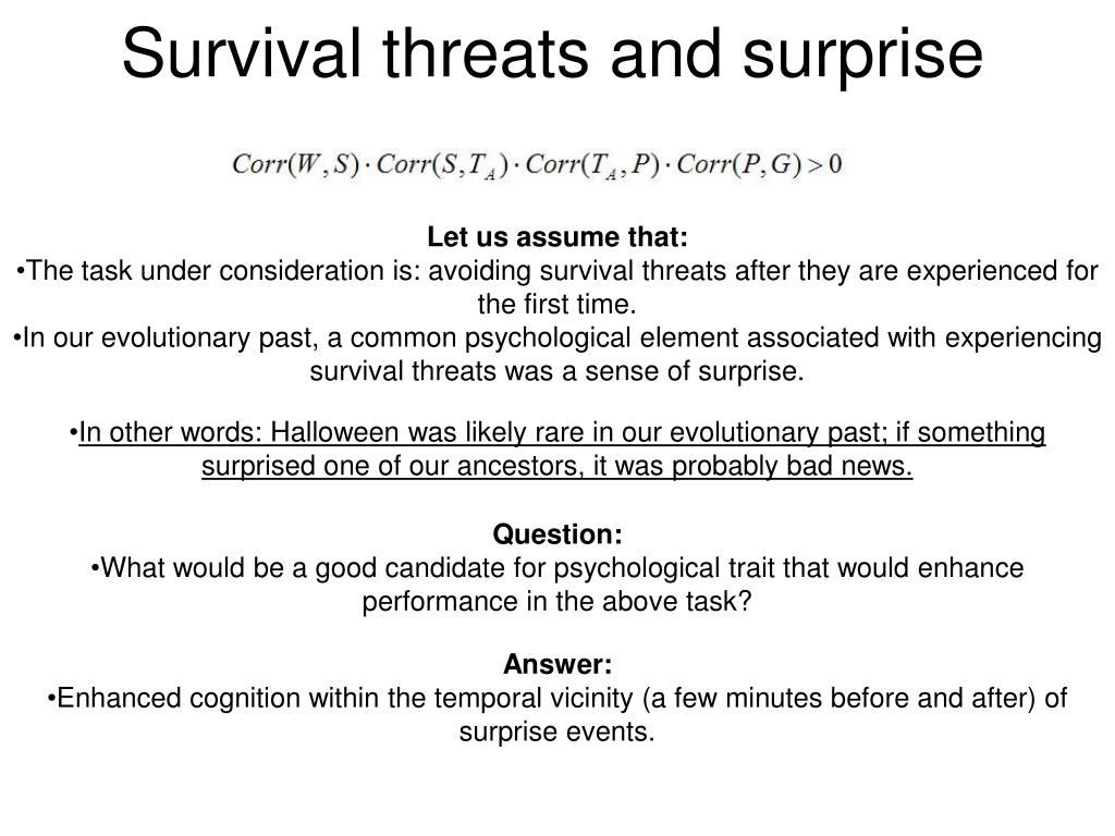 Survival threats and surprise