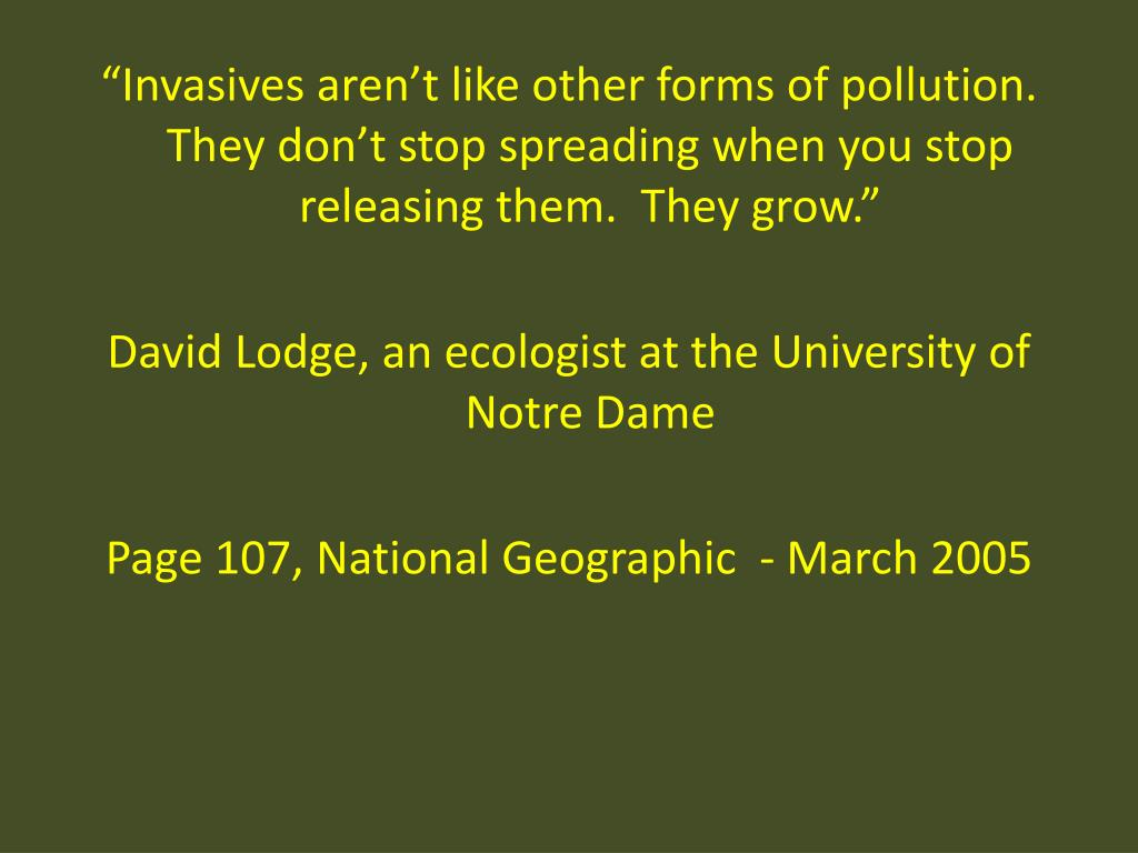 """""""Invasives aren't like other forms of pollution.  They don't stop spreading when you stop releasing them.  They grow."""""""