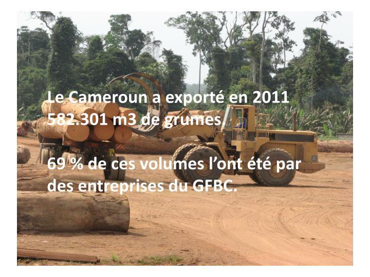 Le Cameroun a exporté en 2011 582.301 m3 de grumes.