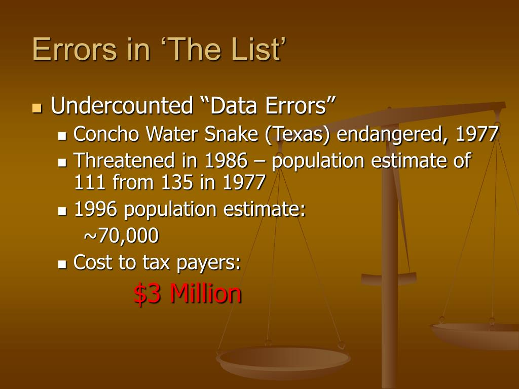 Errors in 'The List'