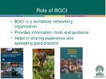 role of bgci