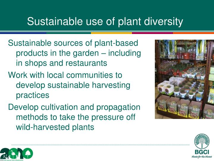 Sustainable use of plant diversity