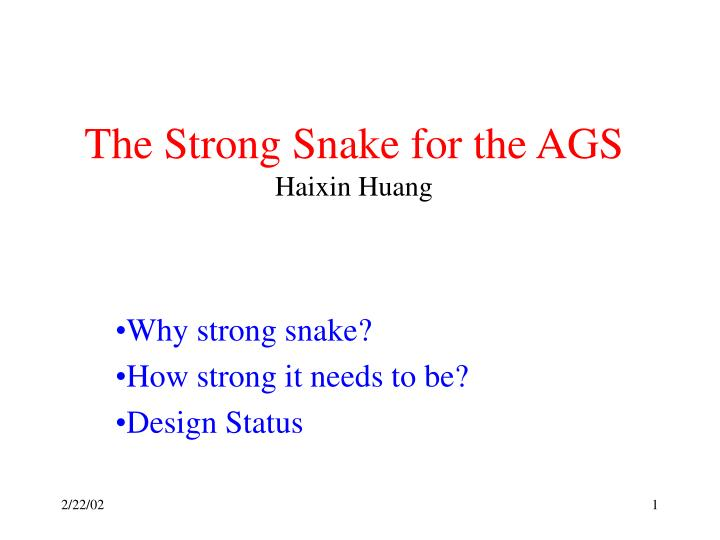 The strong snake for the ags haixin huang