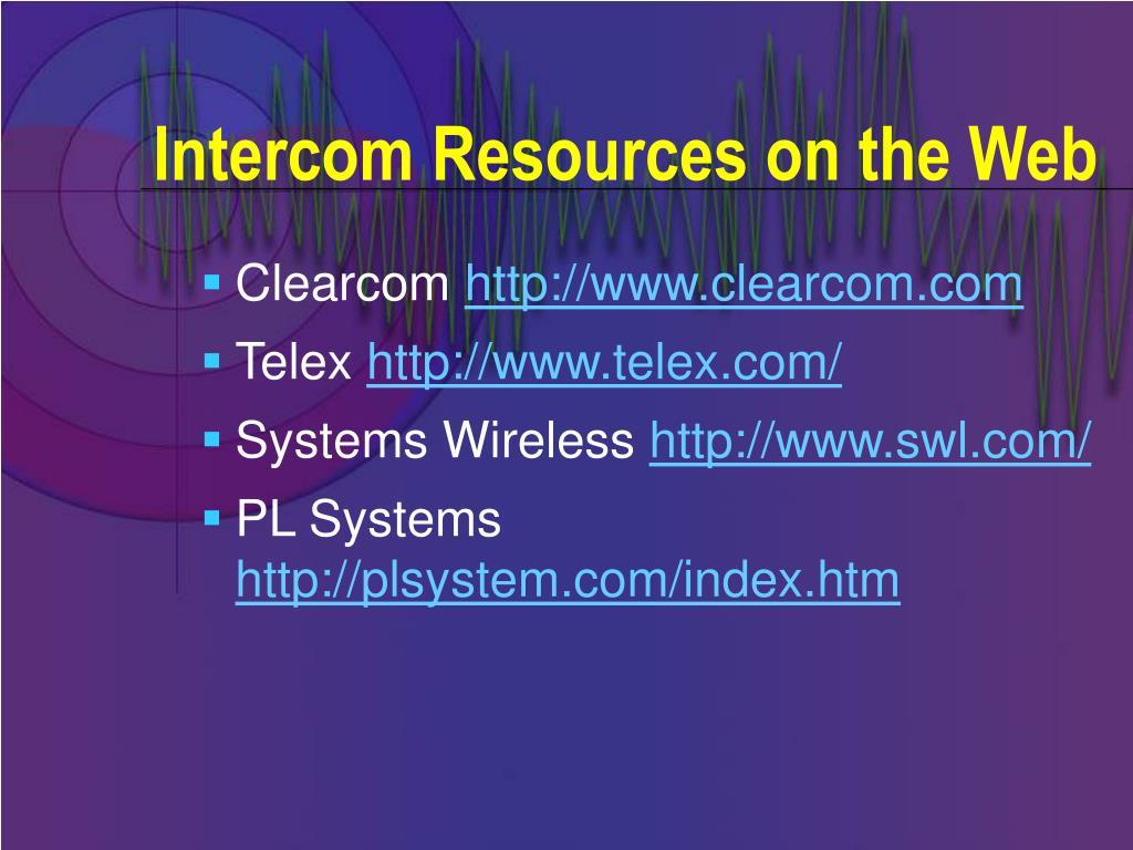 Intercom Resources on the Web