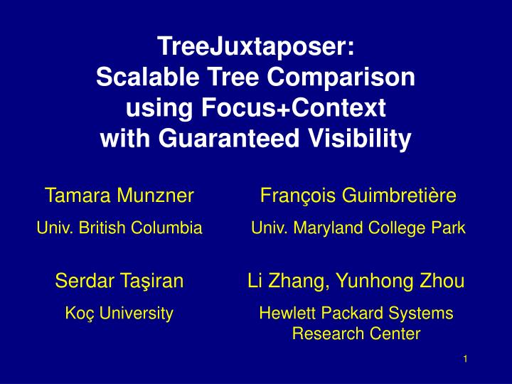 Treejuxtaposer scalable tree comparison using focus context with guaranteed visibility l.jpg