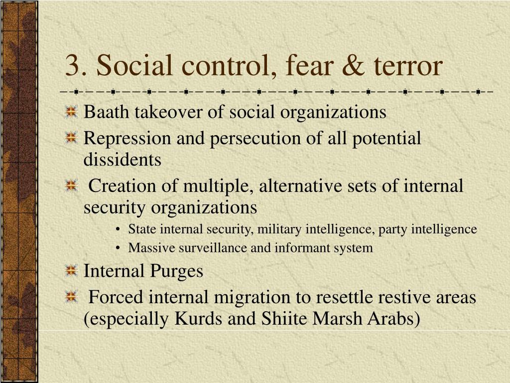 3. Social control, fear & terror