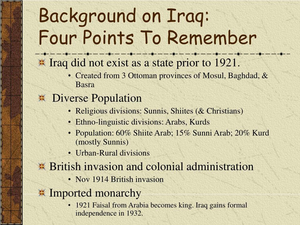 Background on Iraq: