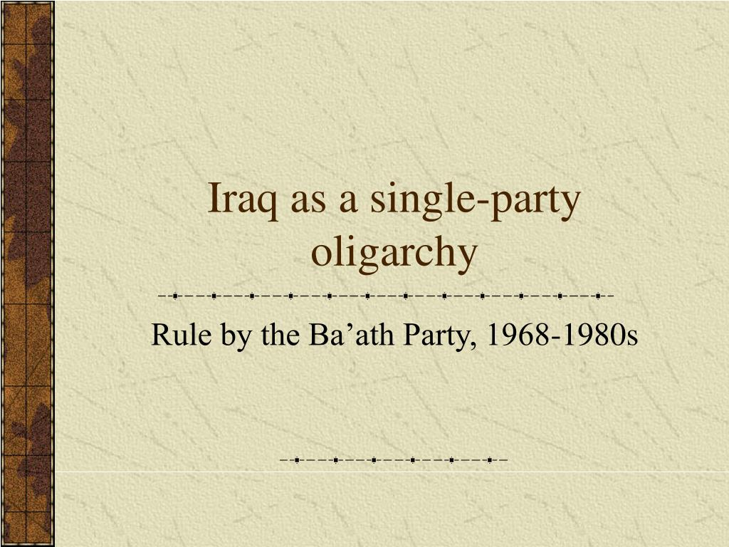 Iraq as a single-party oligarchy