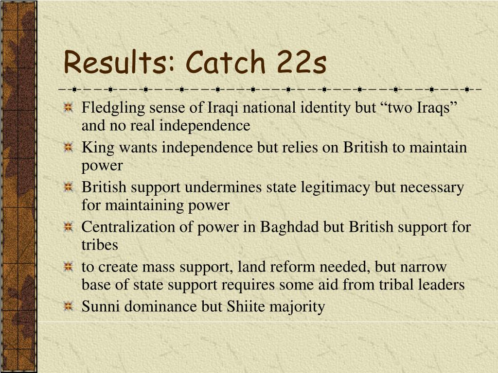 Results: Catch 22s