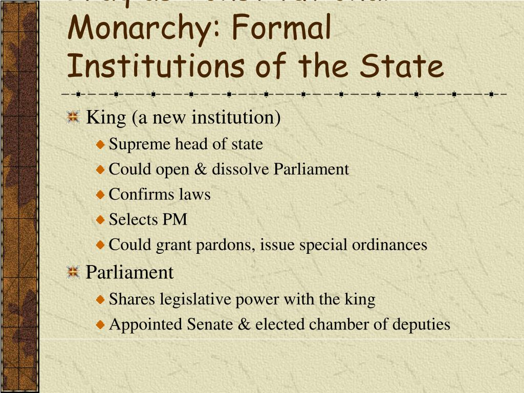 Iraq as Constitutional Monarchy: Formal Institutions of the State