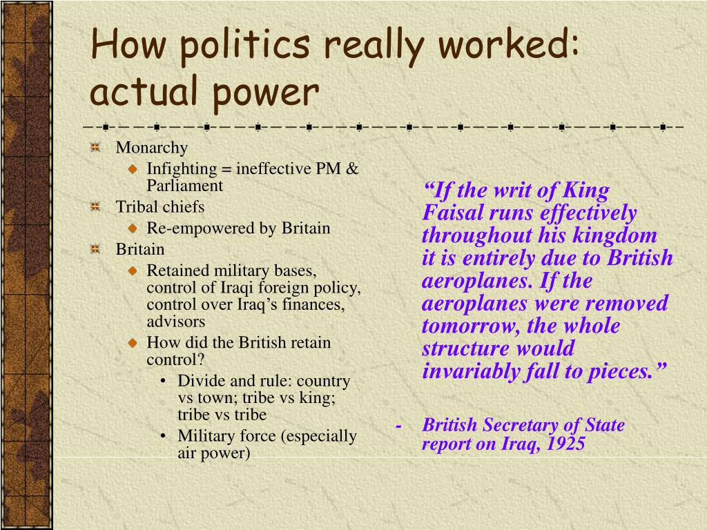 How politics really worked: actual power