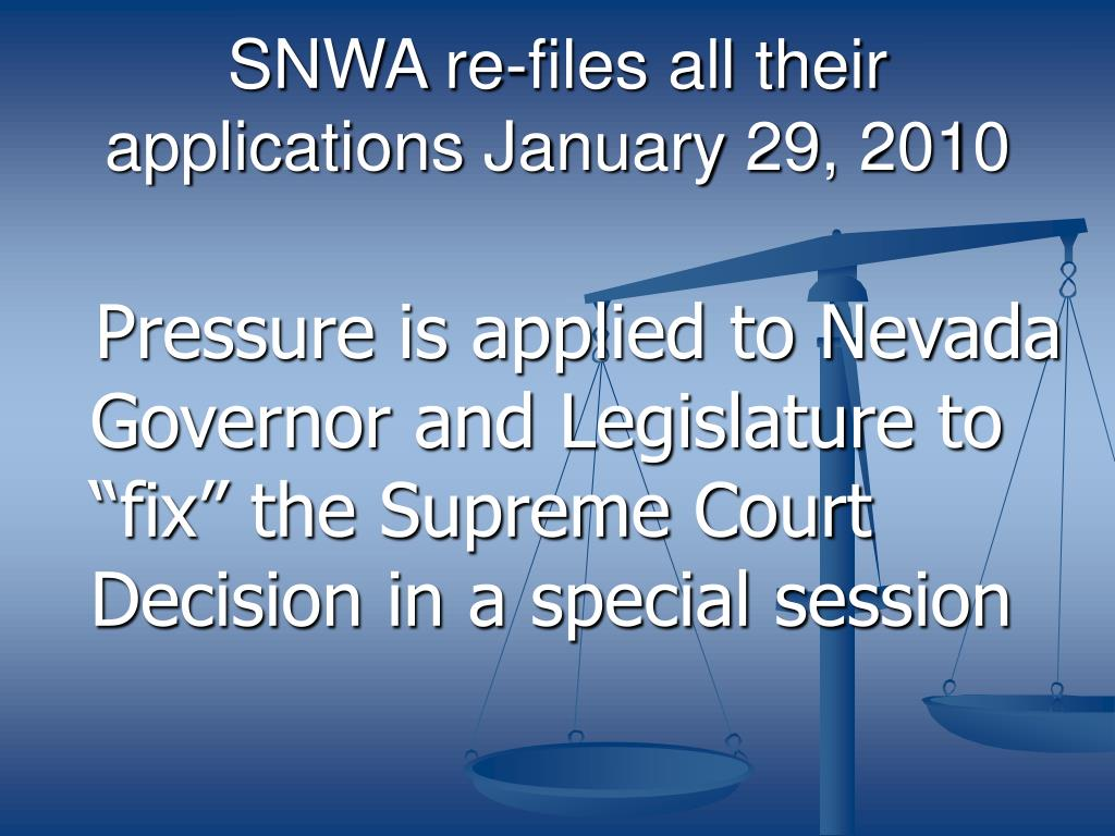 SNWA re-files all their applications January 29, 2010