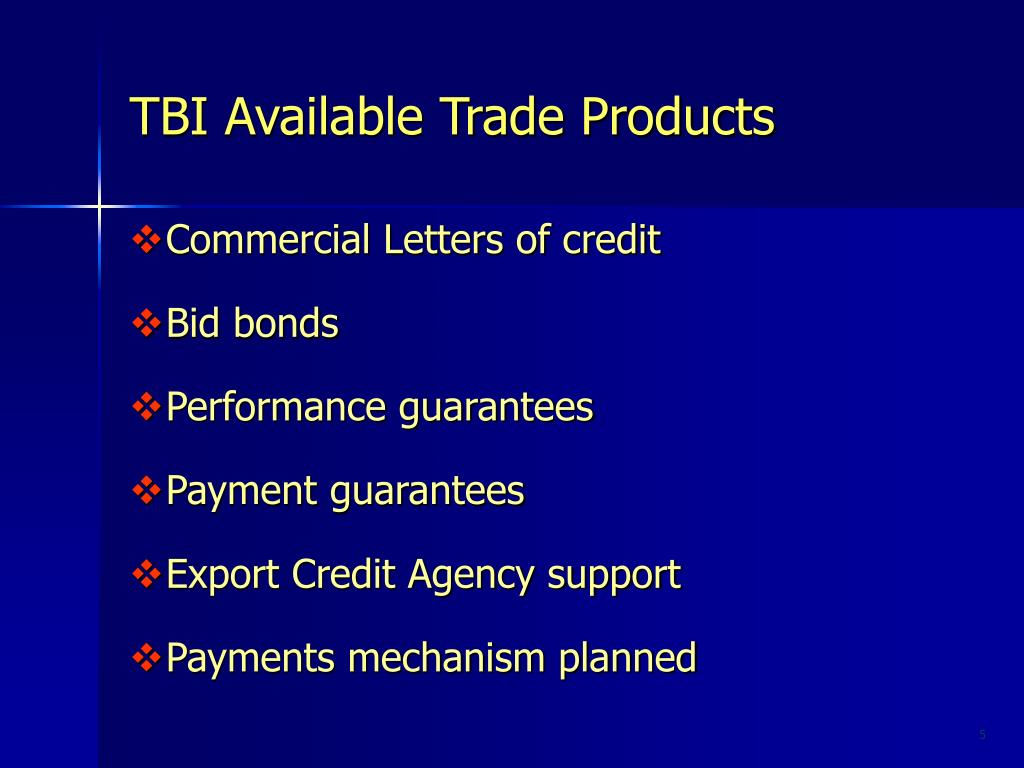 TBI Available Trade Products