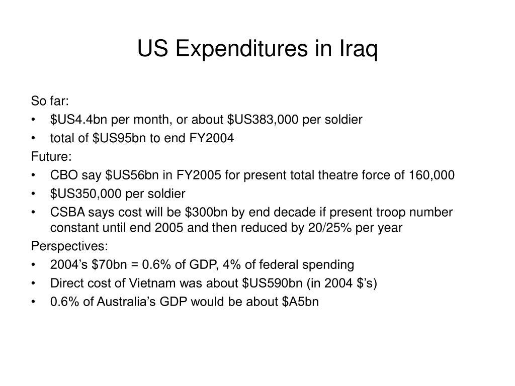 US Expenditures in Iraq