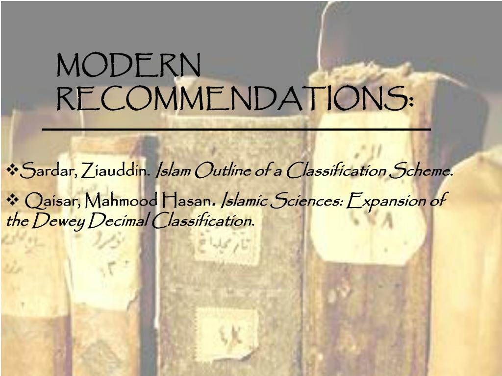 MODERN RECOMMENDATIONS