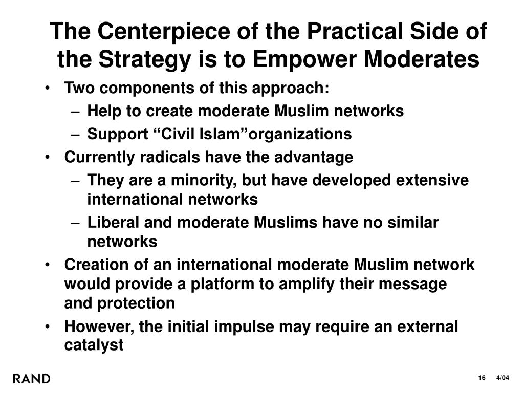 The Centerpiece of the Practical Side of the Strategy is to Empower Moderates