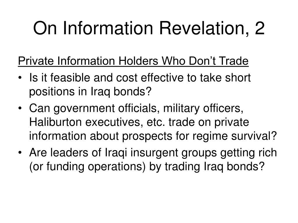 On Information Revelation, 2