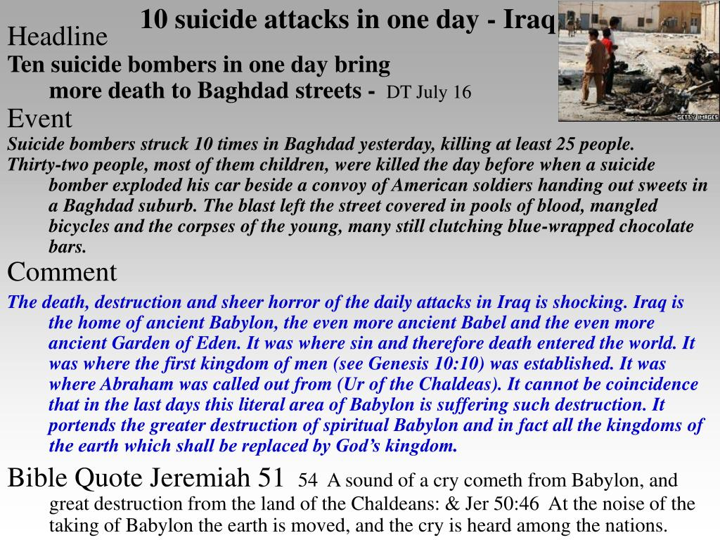 10 suicide attacks in one day - Iraq