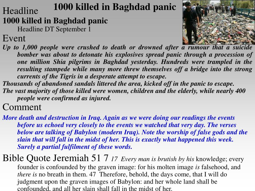 1000 killed in Baghdad panic