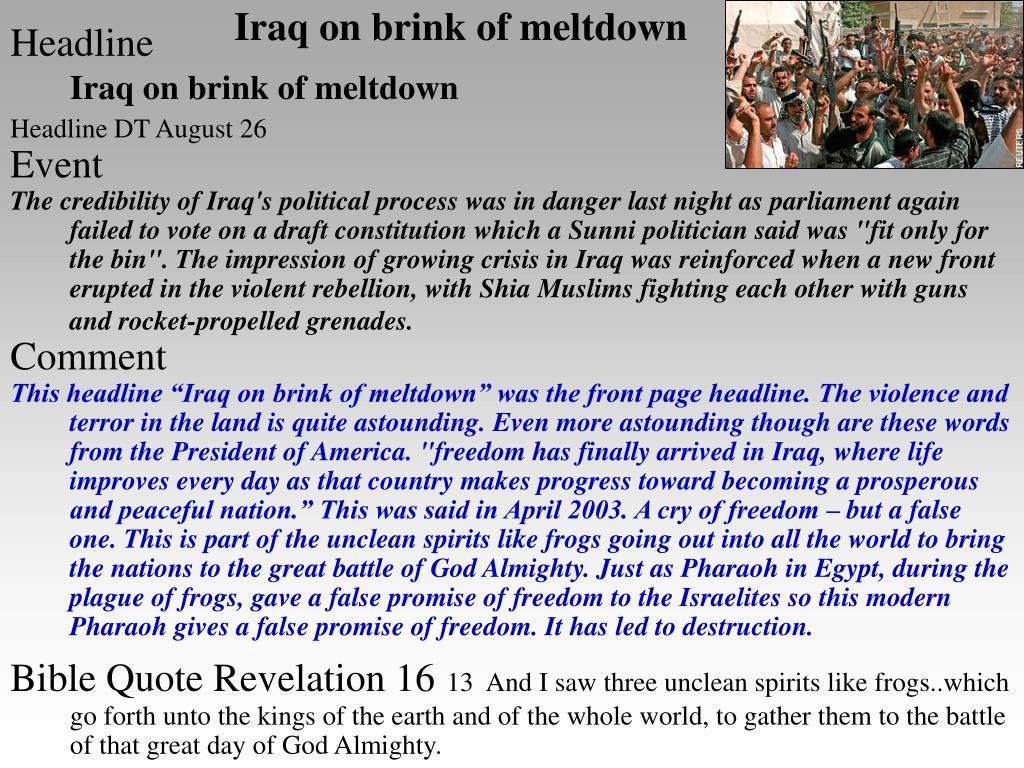 Iraq on brink of meltdown