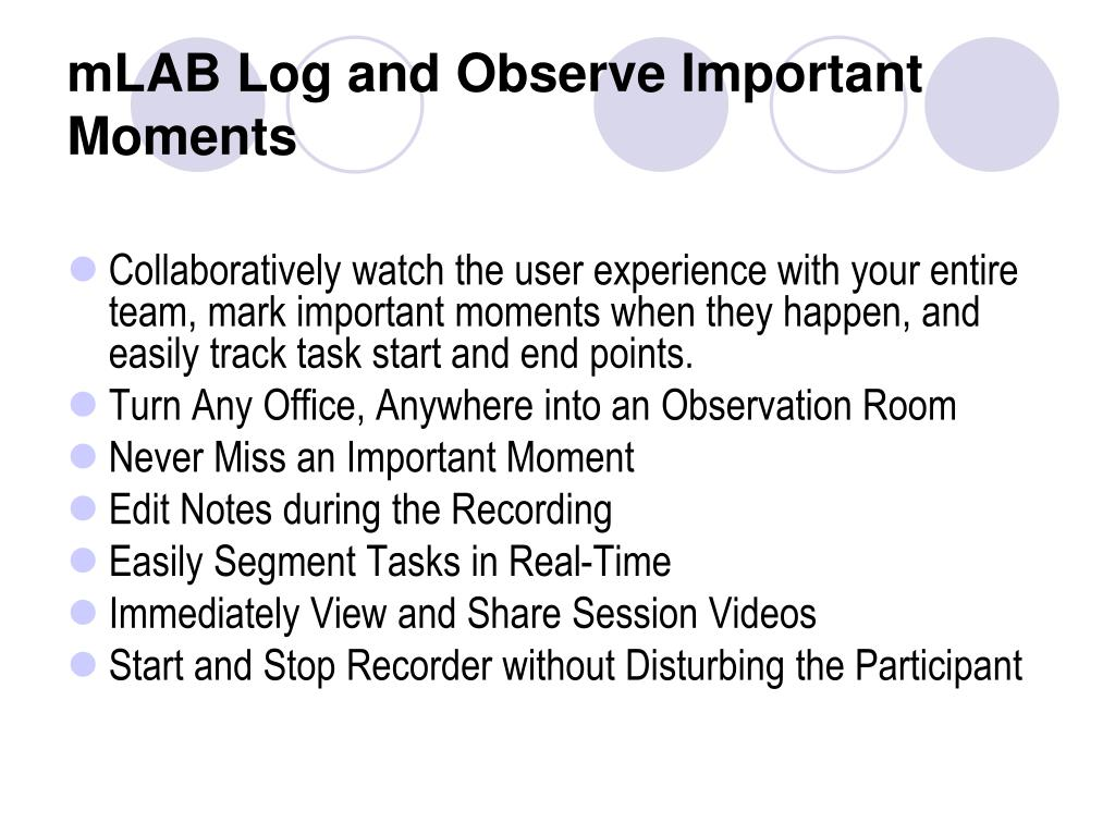 mLAB Log and Observe Important Moments