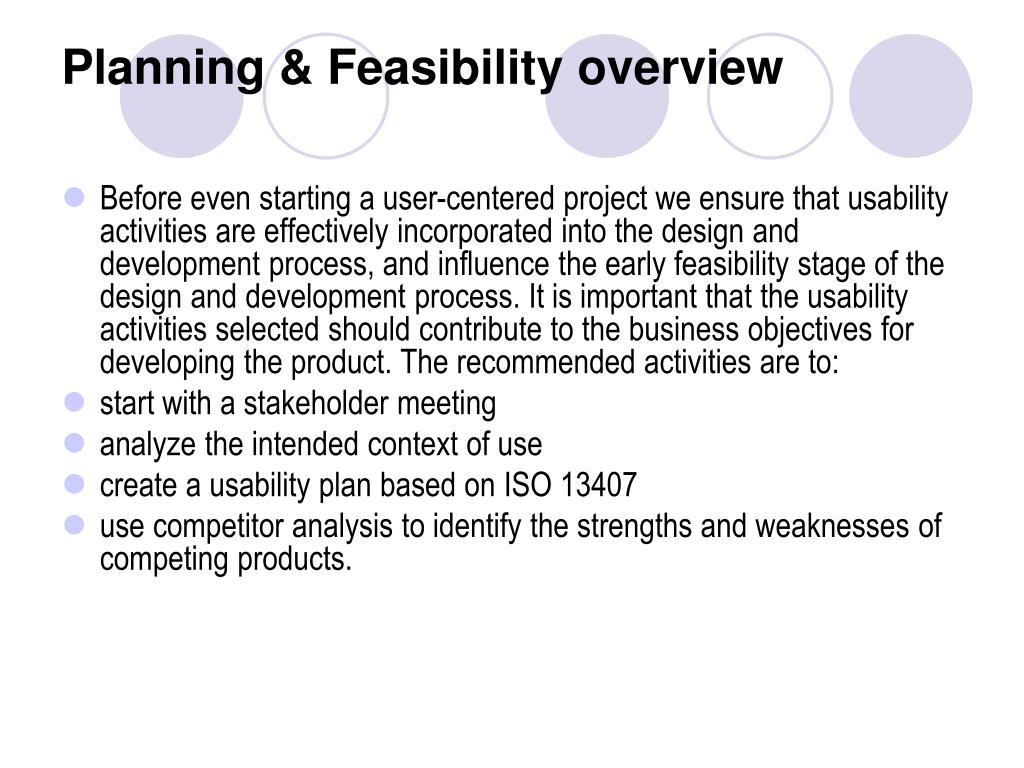 Planning & Feasibility overview