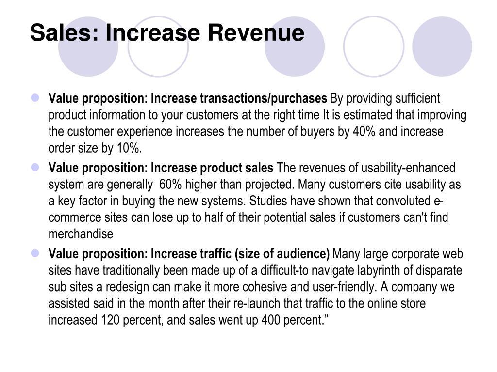 Sales: Increase Revenue