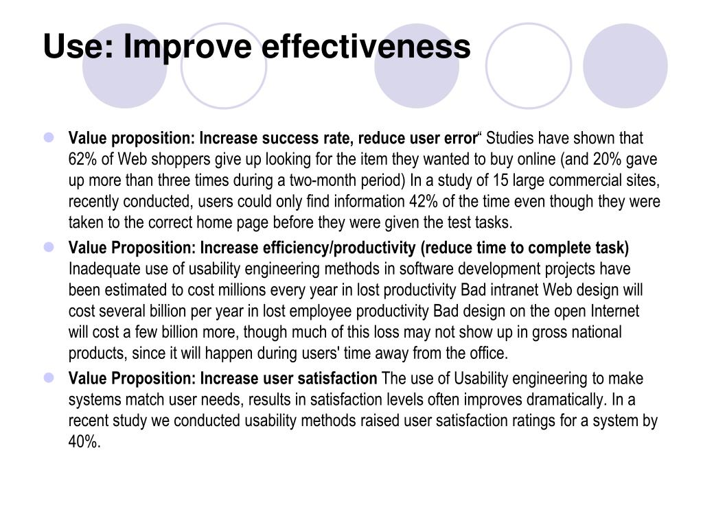 Use: Improve effectiveness
