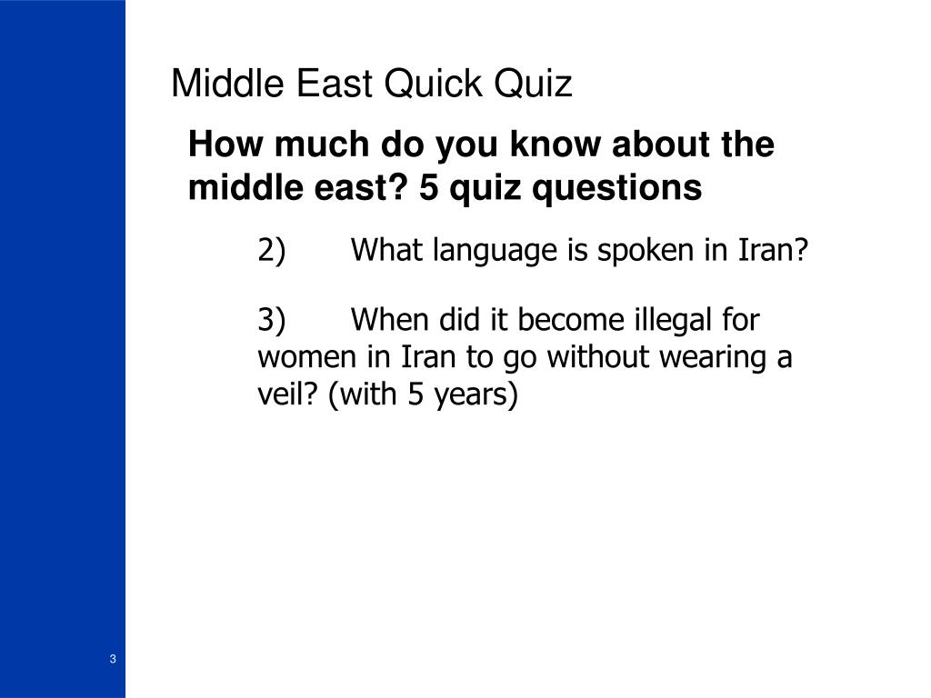 Middle East Quick Quiz