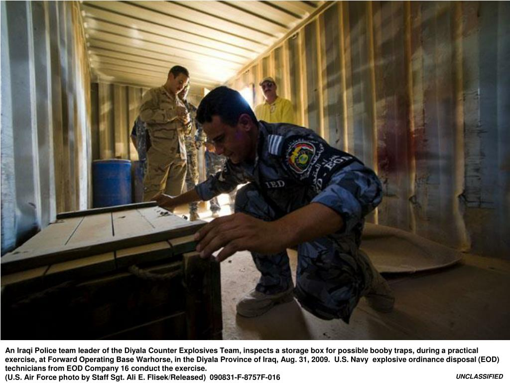 An Iraqi Police team leader of the