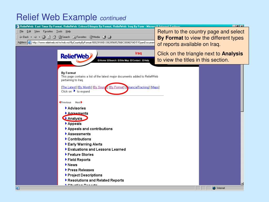 Relief Web Example