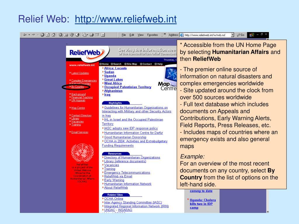 Relief Web: