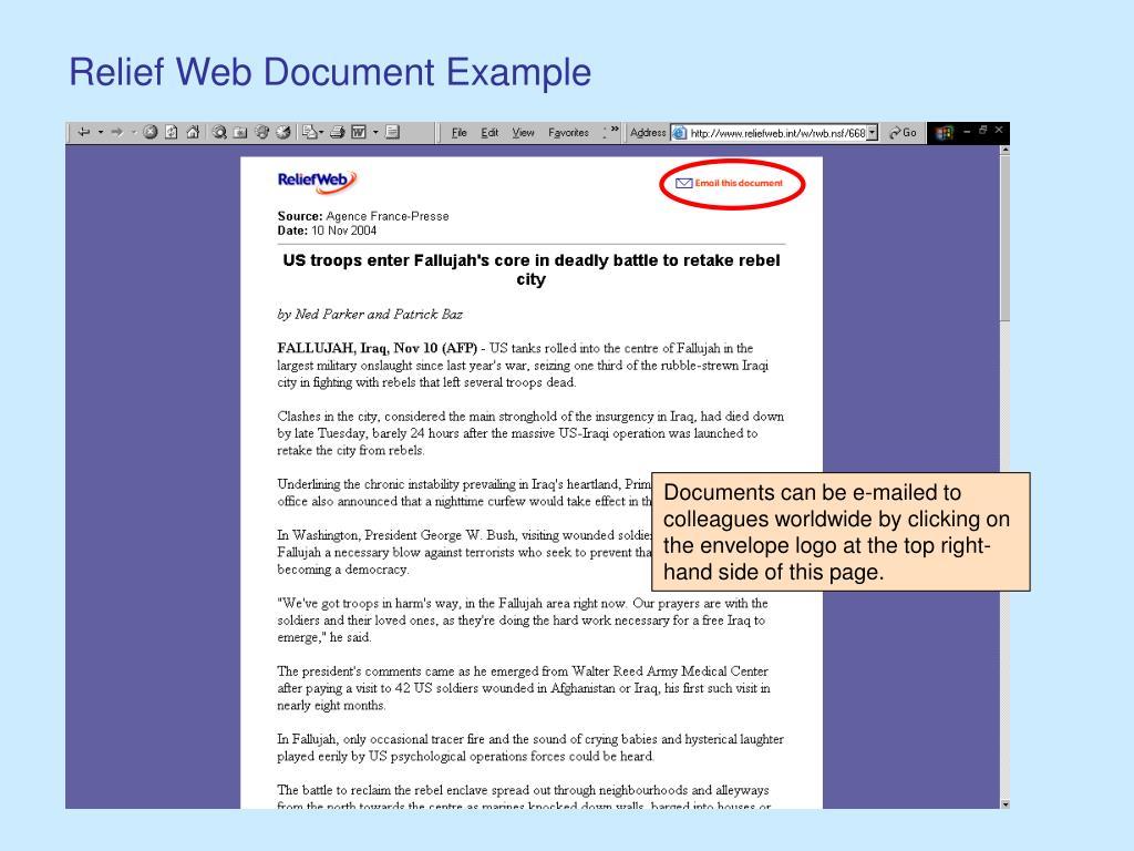 Relief Web Document Example