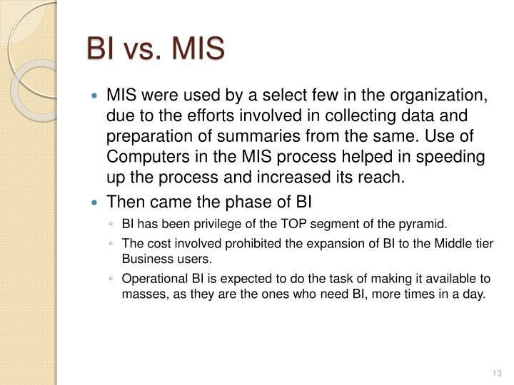 BI vs. MIS