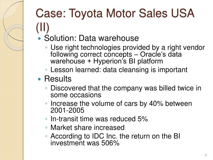 Case: Toyota Motor Sales USA (II)