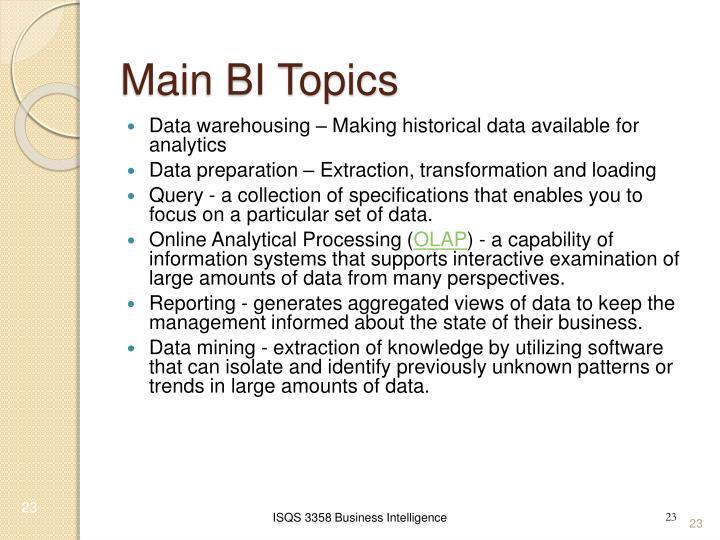 Main BI Topics