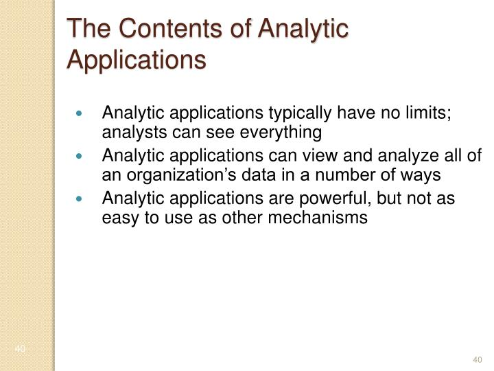 The Contents of Analytic Applications
