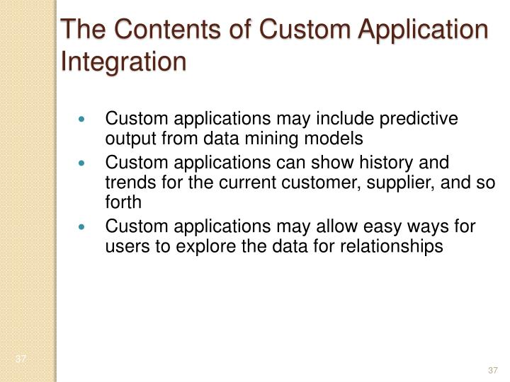 The Contents of Custom Application Integration