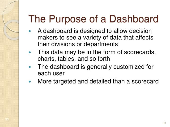 The Purpose of a Dashboard