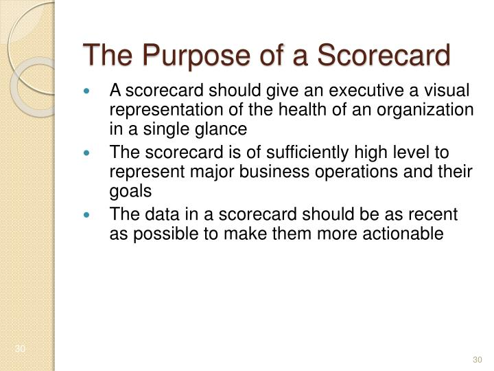 The Purpose of a Scorecard