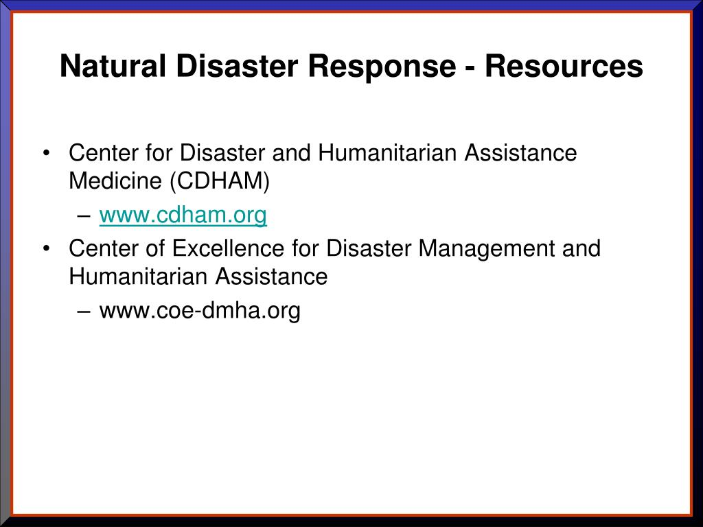 Natural Disaster Response - Resources