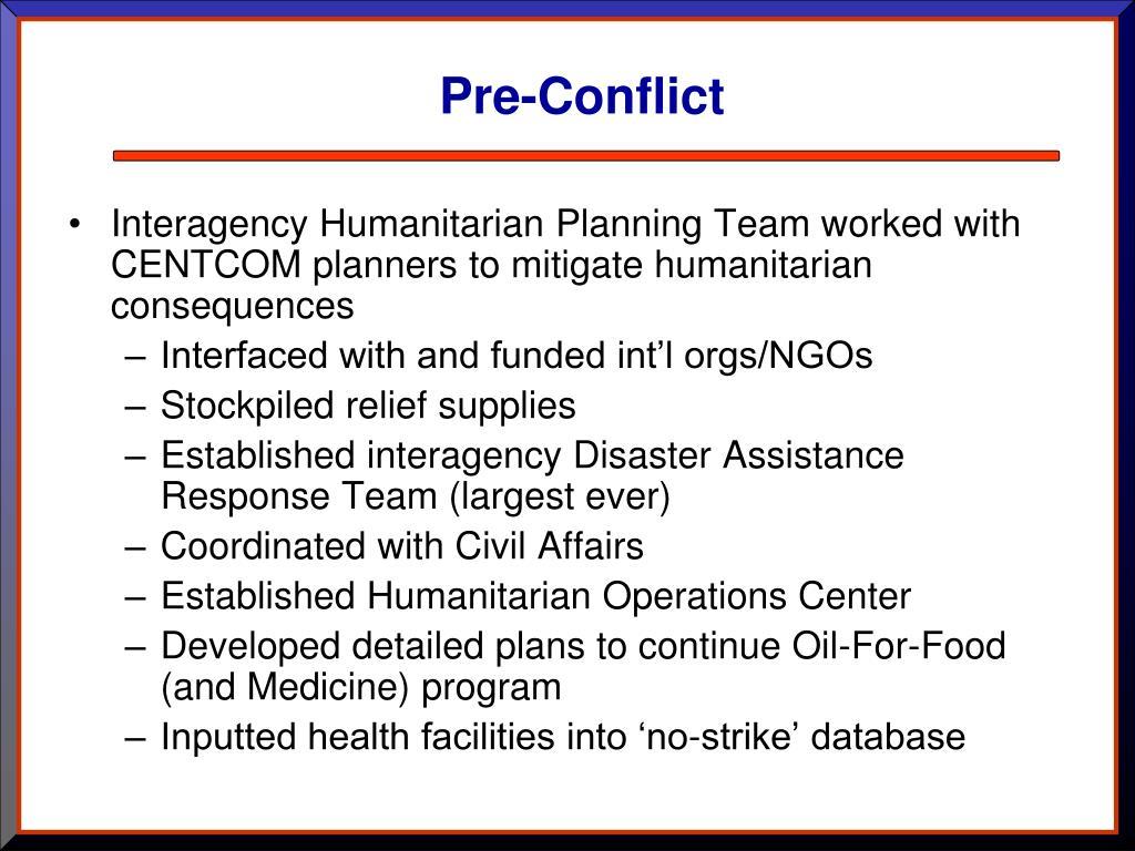 Pre-Conflict