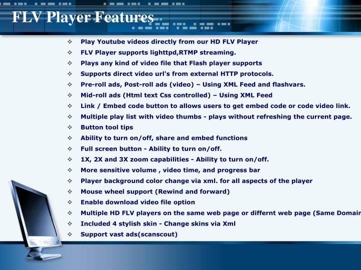 Flv player features