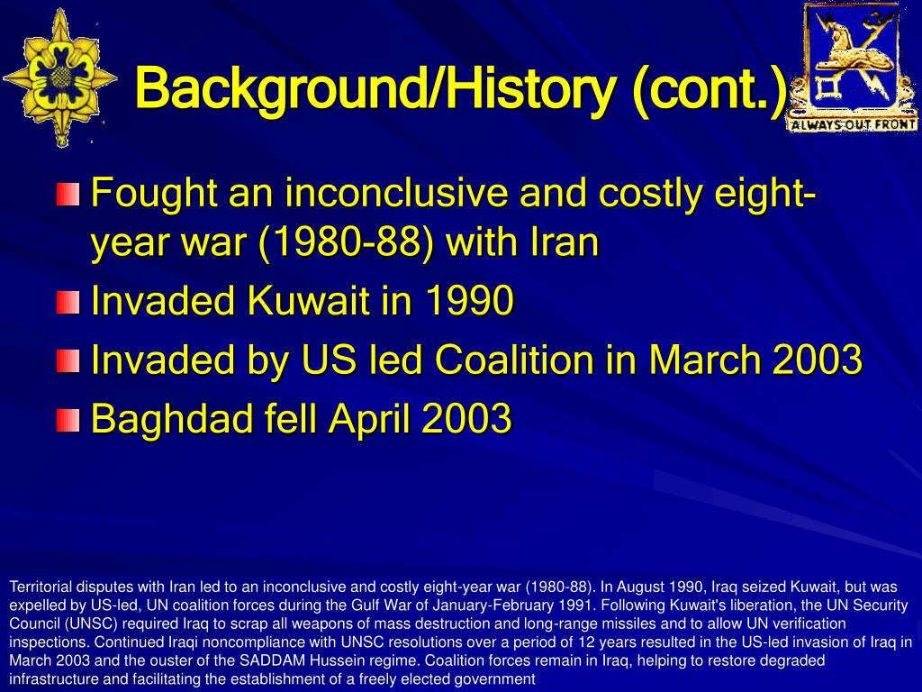 Background/History (cont.)