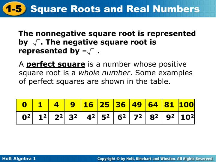 The nonnegative square root is represented by     . The negative square root is represented by –    .
